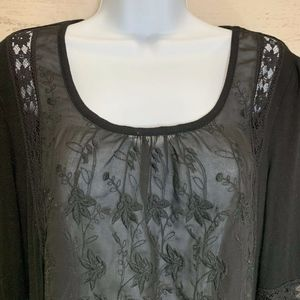 Kenar Black Lace in-laid Embroidered Front Shirt